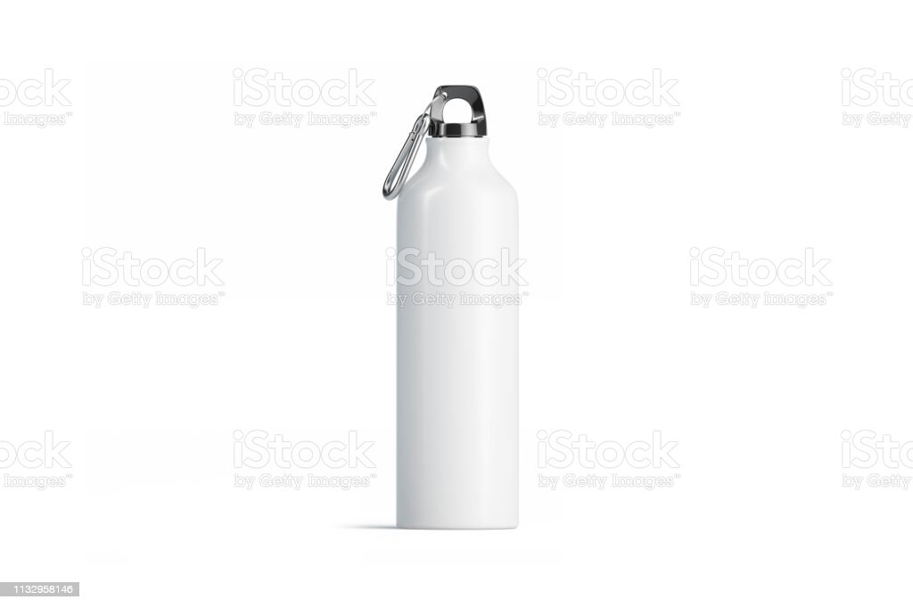 Mockup branco em branco do frasco do esporte do metal, vista isolada, dianteira - Foto de stock de Acampar royalty-free