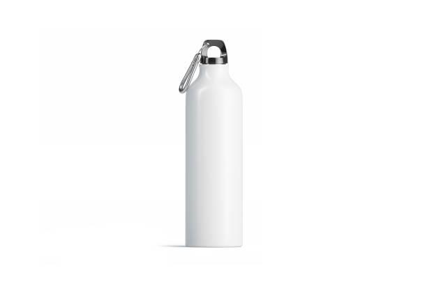 mockup branco em branco do frasco do esporte do metal, vista isolada, dianteira - garrafa - fotografias e filmes do acervo