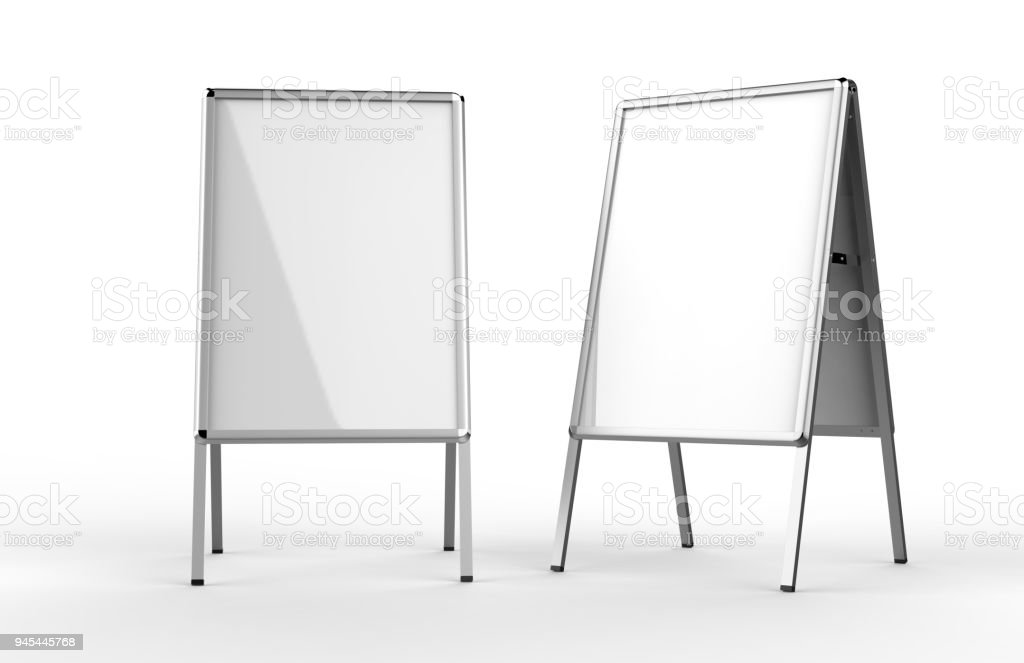 Blank White Metallic Outdoor Advertising Stand Isolated Clear Street ...