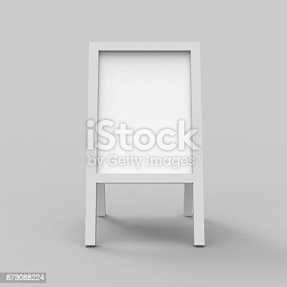 istock Blank white metallic outdoor advertising stand mock up set on isolated white background, Clear street signage board mock up, 3d illustration. 873088224