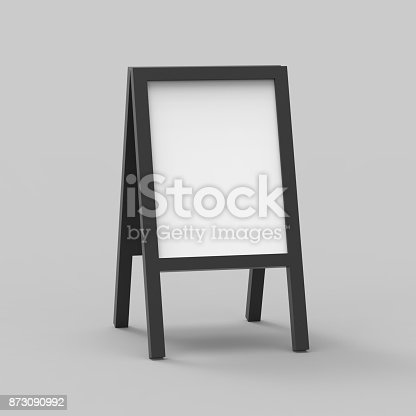 istock Blank white metallic outdoor advertising stand mock up set on isolated white background, Clear street signage board mock up, 3d illustration. 873090992