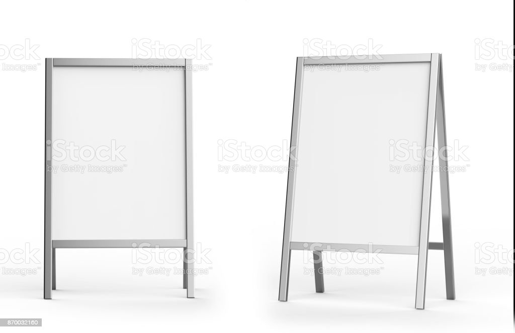 Blank white metallic outdoor advertising stand mockup, isolated, 3d rendering. Clear street signage board mock up. A-board with metal frame template stock photo