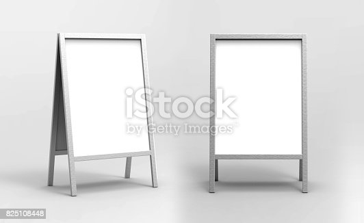 istock Blank white metallic outdoor advertising stand mockup set, isolated, 3d rendering. Clear street signage board mock up. A-board with metal frame template 825108448