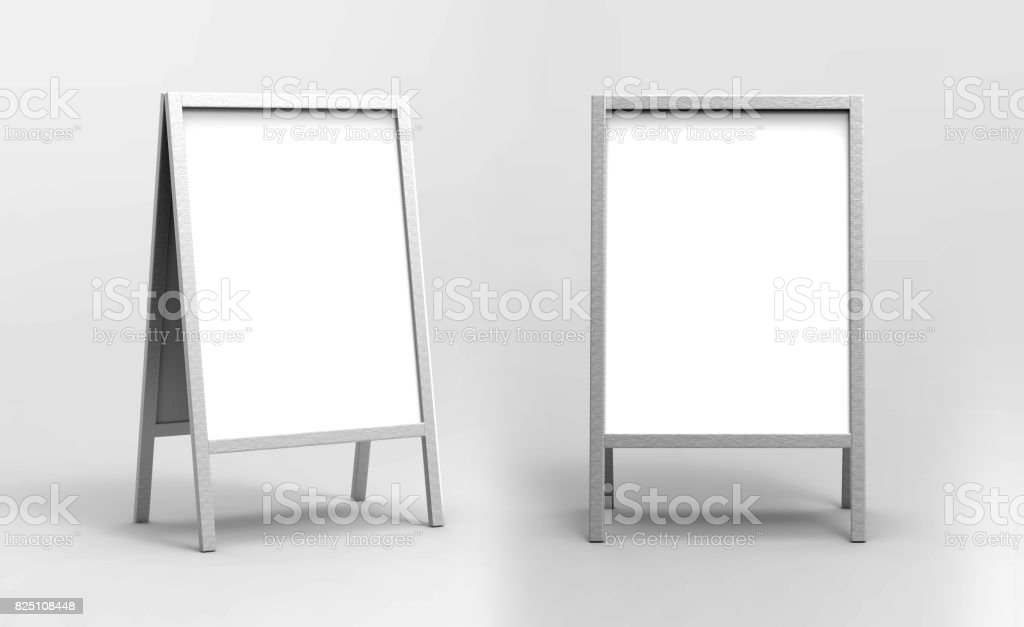 Blank white metallic outdoor advertising stand mockup set, isolated, 3d rendering. Clear street signage board mock up. A-board with metal frame template stock photo