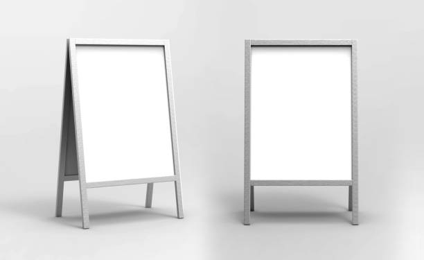 blank white metallic outdoor advertising stand mockup set, isolated, 3d rendering. clear street signage board mock up. a-board with metal frame template - vinyl banner mockup stock photos and pictures