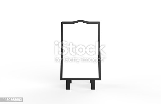 628470570 istock photo Blank white metallic outdoor advertising stand mockup set on isolated white background, clear street signage board, two sided advertising stand mock up, 3d illustration. 1130868690