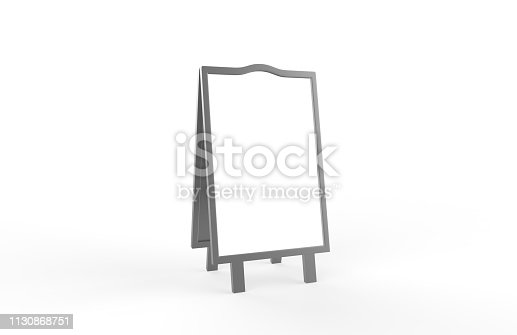 628470570 istock photo Blank white metallic outdoor advertising stand mockup set on isolated white background, clear street signage board, two sided advertising stand mock up, 3d illustration. 1130868751