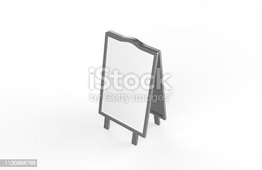 628470570 istock photo Blank white metallic outdoor advertising stand mockup set on isolated white background, clear street signage board, two sided advertising stand mock up, 3d illustration. 1130868769