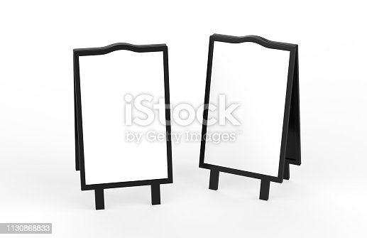 628470570 istock photo Blank white metallic outdoor advertising stand mockup set on isolated white background, clear street signage board, two sided advertising stand mock up, 3d illustration. 1130868833