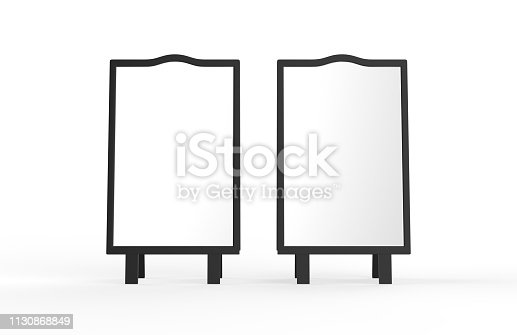 628470570 istock photo Blank white metallic outdoor advertising stand mockup set on isolated white background, clear street signage board, two sided advertising stand mock up, 3d illustration. 1130868849
