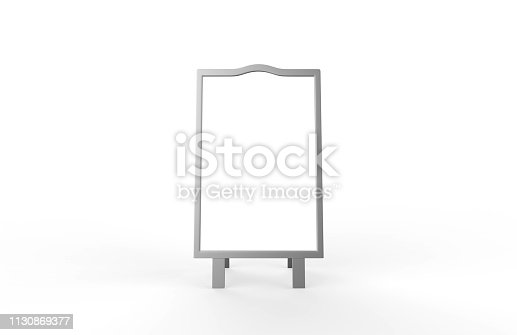 628470570 istock photo Blank white metallic outdoor advertising stand mockup set on isolated white background, clear street signage board, two sided advertising stand mock up, 3d illustration. 1130869377