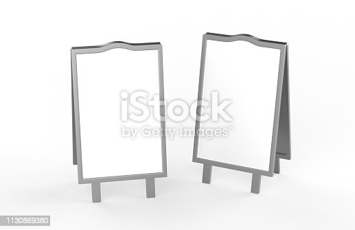 628470570 istock photo Blank white metallic outdoor advertising stand mockup set on isolated white background, clear street signage board, two sided advertising stand mock up, 3d illustration. 1130869380