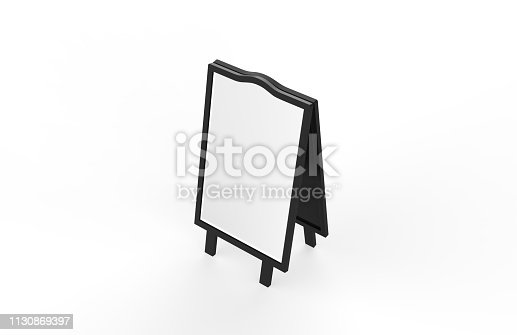 628470570 istock photo Blank white metallic outdoor advertising stand mockup set on isolated white background, clear street signage board, two sided advertising stand mock up, 3d illustration. 1130869397