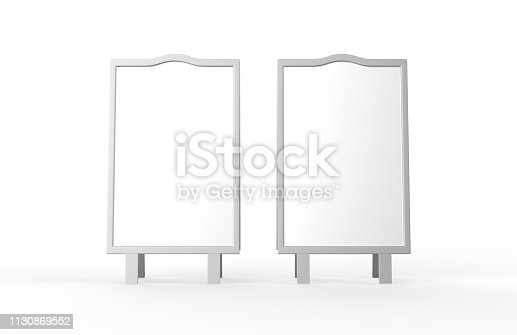 628470570 istock photo Blank white metallic outdoor advertising stand mockup set on isolated white background, clear street signage board, two sided advertising stand mock up, 3d illustration. 1130869552