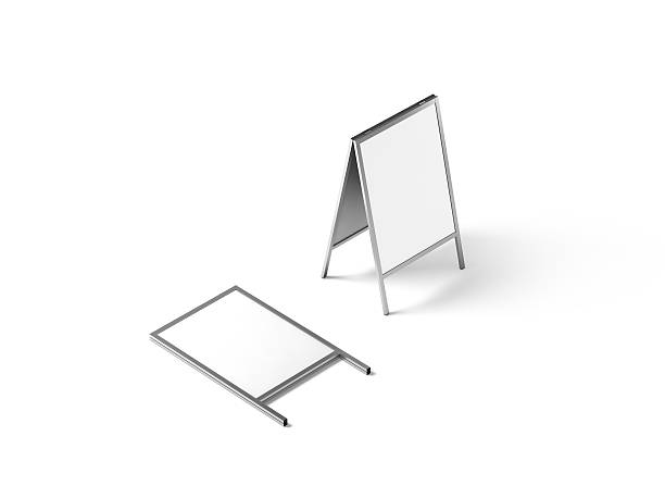 blank white metallic outdoor stand mockup, isolated, - advertising isometric stock pictures, royalty-free photos & images