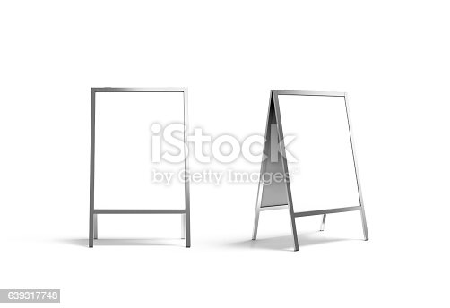 istock Blank white metallic outdoor stand mockup set, isolated, front 639317748