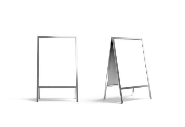 blank white metallic outdoor stand mockup set, isolated, front - vinyl banner mockup stock photos and pictures