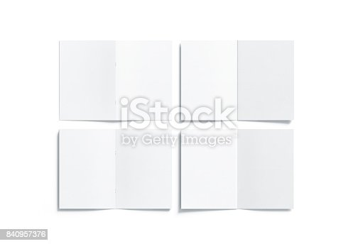 1221251713 istock photo Blank white multi-page a5 booklet mock up, front back side 840957376