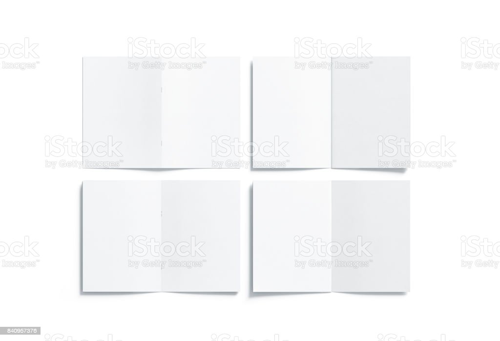 Blank white multi-page a5 booklet mock up, front back side stock photo