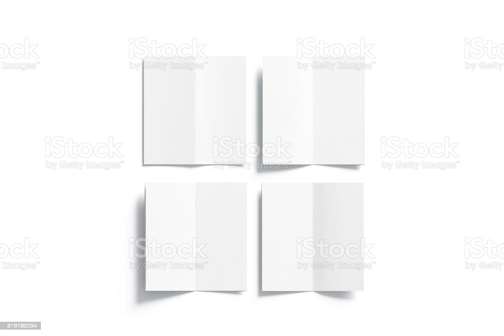 Blank white multi-page booklet mock up, opened top view stock photo