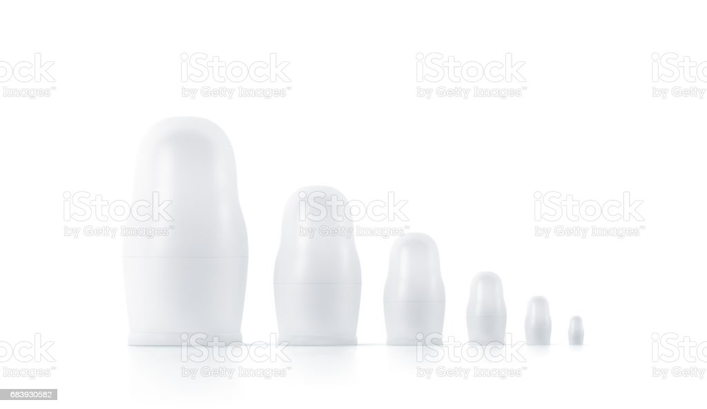 Blank white nesting dolls mockups, russian matryoshka stock photo