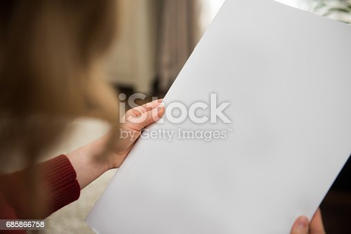 istock Blank white newspaper page background with copy space 685866758