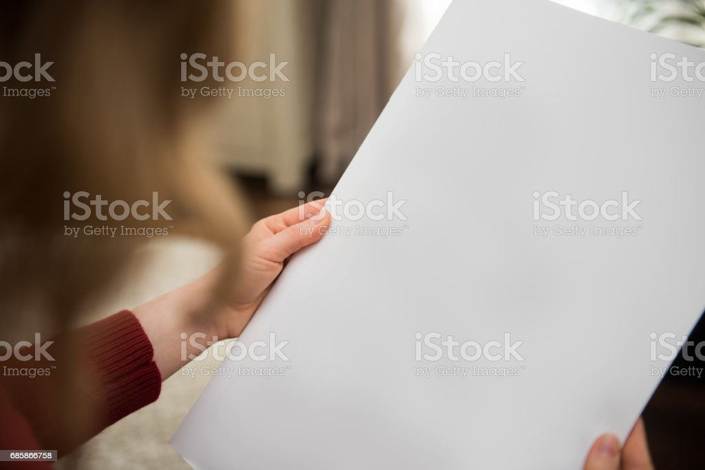 Blank white newspaper page background with copy space stock photo