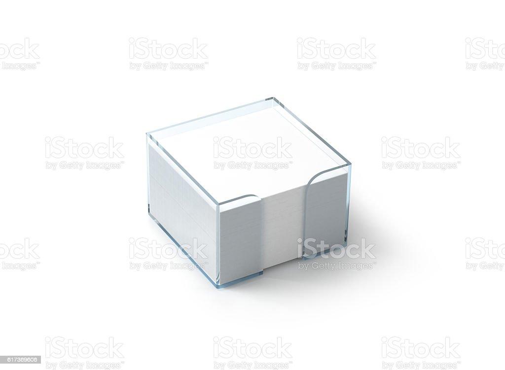 Blank white note paper block plastic holder mockup stock photo