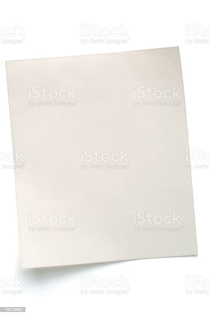 Blank white note paper isolated on white royalty-free stock photo