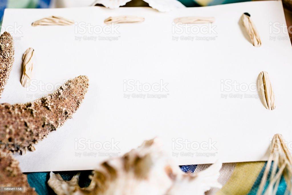 Blank White Notecard With Seashells Beach Blanket stock photo iStock