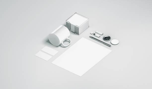 Blank white office stationery set mock up isolated stock photo