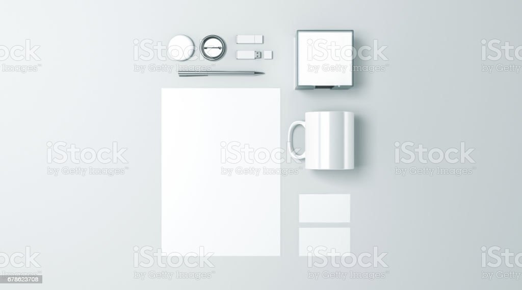 Blank white office stationery set mockup isolated stock photo