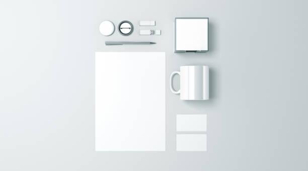 빈 흰색 사무실 편지지 설정 이랑 절연 스톡 사진