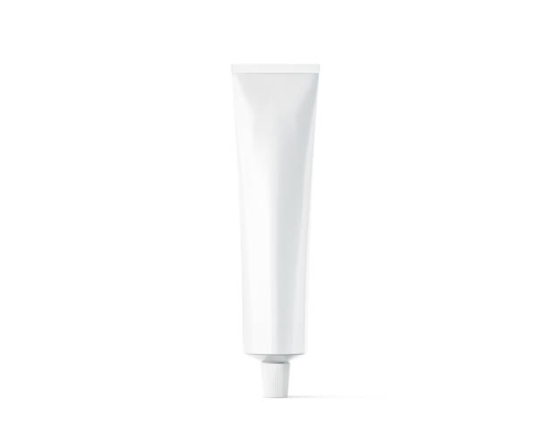 Blank white ointment tube mockup, 3d rendering stock photo