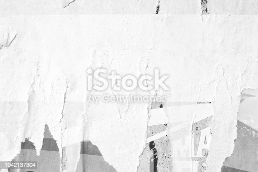962578882 istock photo Blank white old ripped torn paper crumpled creased posters grunge textures backdrop backgrounds 1042137304