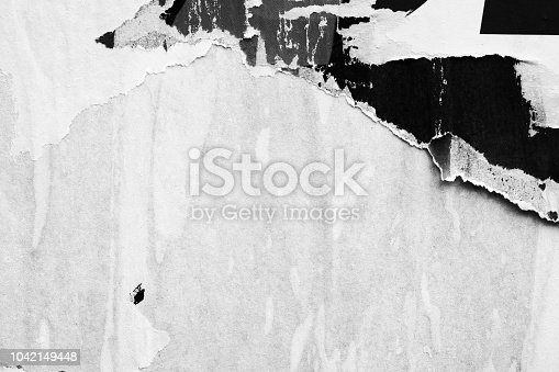 962578882 istock photo Blank white old ripped torn paper crumpled creased posters grunge textures backdrop backgrounds 1042149448
