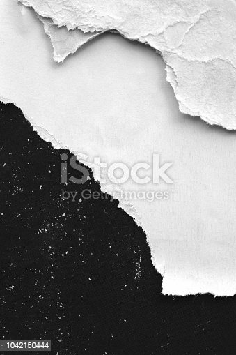962578882 istock photo Blank white old ripped torn paper crumpled creased posters grunge textures backdrop backgrounds 1042150444