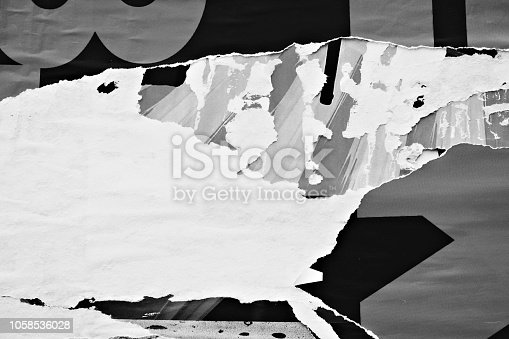 1087065964 istock photo Blank white old ripped torn paper crumpled creased posters grunge textures backdrop backgrounds placard 1058536028