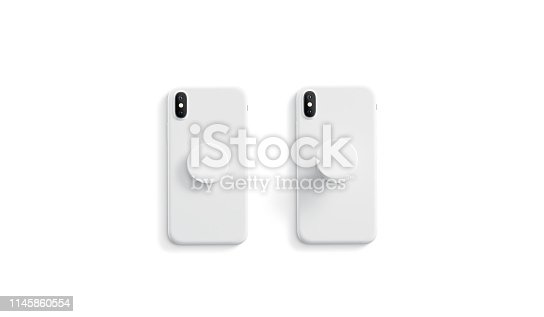 Blank white opened and closed phone phone grip mock up on smartphone lying isolated, top view, 3d rendering. Empty phone grip holder for gadget mock up. Clear stand attach grip on the back of mobile.