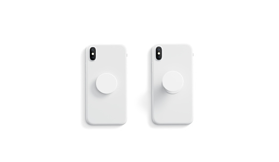 Blank white opened and closed phone grip mock up,