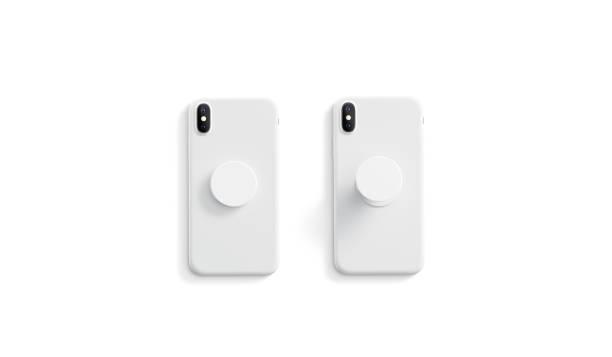 ブランクホワイトオープンとクローズド電話ポップソケットモックアップ、 - ポップミュージシャン ストックフォトと画像