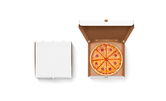Download Blank White Opened And Closed Pizza Box Mockup Set Stock ...