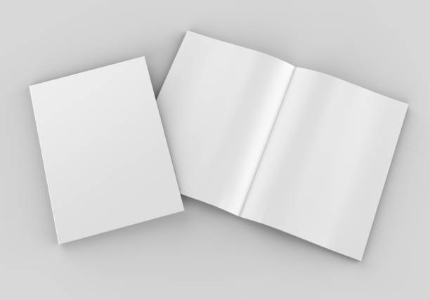 blank white opened catalog, magazines,book for mock up and template design on grey background. 3d render illustration. - magazine mockup stock photos and pictures