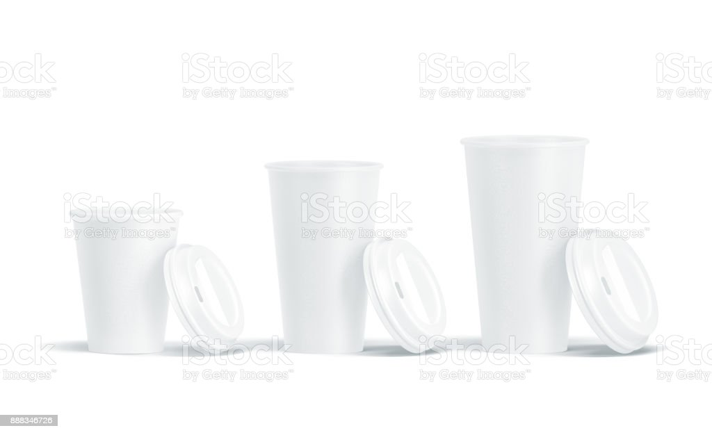 Blank white opened lids disposable paper cups mock ups stock photo