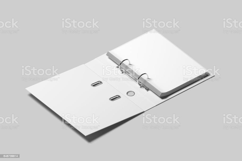 Blank white opened ring binder design mockup stock photo
