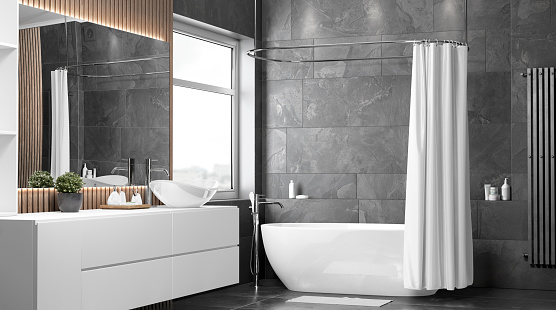 Blank white opened shower curtain mockup, half-turned view, 3d rendering. Empty polyester bathtub shutter for home design mock up. Clear waterproof curtai for morning hygiene template.