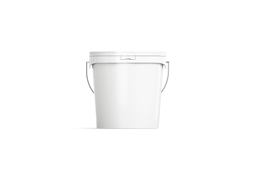 Blank white paint bucket mockup isolated, front view