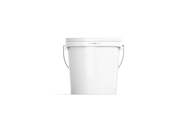lege witte verf emmer mockup geïsoleerd, vooraanzicht - emmer stockfoto's en -beelden