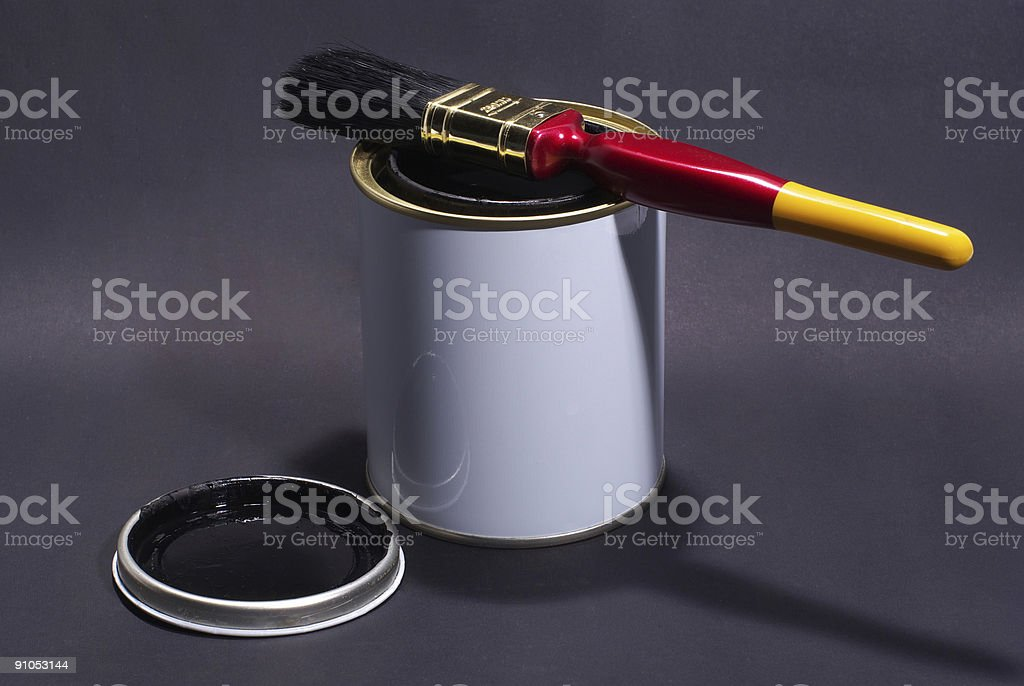 Blank White Paint Tin With Paintbrush and Lid 2 royalty-free stock photo