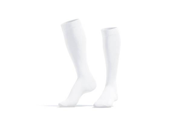Blank white pair soccer socks toe mockup, half-turned view stock photo